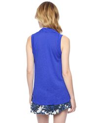 Splendid - Blue Slub Jersey Drape Neck Tank - Lyst