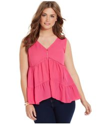 Jessica Simpson | Purple Plus Size Tiered Eyelet-trim Blouse | Lyst
