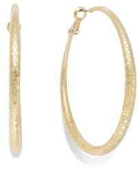 INC International Concepts - Metallic Gold-tone Disco Textured Hoop Earrings - Lyst