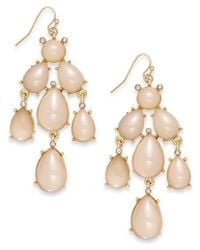 INC International Concepts - Pink Inc International Concept Gold-Tone Natural Cluster Chandelier Earring - Lyst