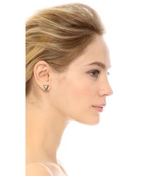 House of Harlow 1960 - Metallic Triangle Stud Earrings - Gold/Ivory - Lyst