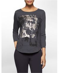 Calvin Klein | Gray Jeans Textured Metallic Splatter Top | Lyst