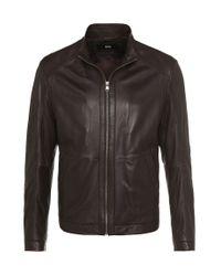 BOSS Brown Lambskin Leather Jacket: 'noksins' for men