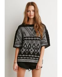 Forever 21 - Black Marled Diamond-patterned Sweater - Lyst