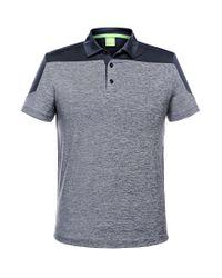 BOSS Green - Blue 'pavotech' | Slim Fit, Tech Jersey Colorblock Polo for Men - Lyst