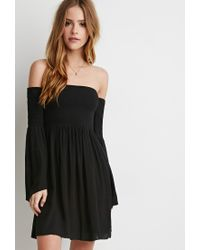 Forever 21 | Black Smocked Off-the-shoulder Dress | Lyst