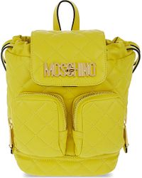 Moschino | Yellow Quilted Mini Leather Backpack | Lyst