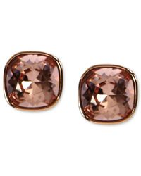 Givenchy - Pink Rose Gold-tone Vintage Rose Swarovski Element Square Button Earrings (2/5 Ct. T.w.) - Lyst
