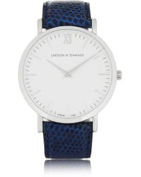 Larsson & Jennings | Blue Cm Lizard And Stainless Steel Watch | Lyst