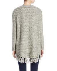 Kensie - Gray Fringe Sweater - Lyst