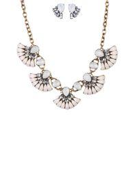 AKIRA | Metallic Fan Girl Cream Gold Necklace & Earring Set | Lyst