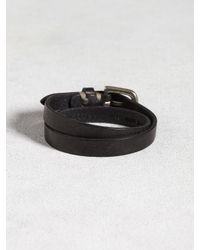 John Varvatos - Black Leather Double Wrap Cuff for Men - Lyst