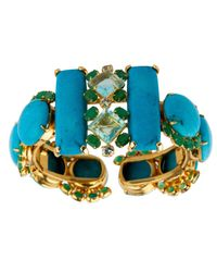 Bounkit | Faceted Blue Quartz, Emerald, Blue Topaz And Cabochon Turquoise Cuff | Lyst