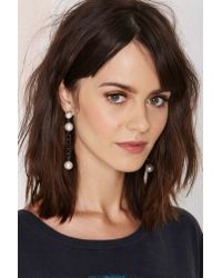 Nasty Gal | White With A Twist Chain Earrings | Lyst