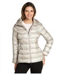 Moncler - Natural Beige Grosgrain Striped Gaudin Zip Front Down Jacket - Lyst