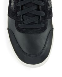 DIESEL - Black Leather Amnesia Resolution Sneakers for Men - Lyst