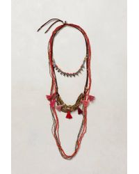 Anthropologie | Red Tassel Swing Necklace Trio | Lyst