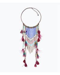 Zara | Multicolor Long Ethnic Feather Necklace | Lyst