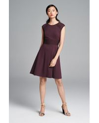 Eliza J | Purple Pintucked Waist Seamed Ponte Knit Fit & Flare Dress | Lyst