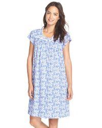 Eileen West - Blue 'mystic' Print Cotton Short Nightgown - Lyst