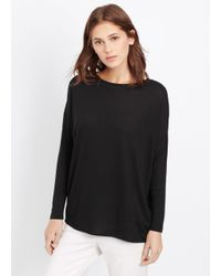 Vince - Black Mixed Media Top With Rib Trim - Lyst