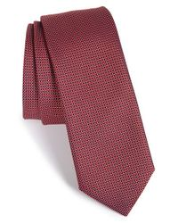 HUGO - Red Geometric Silk Tie for Men - Lyst