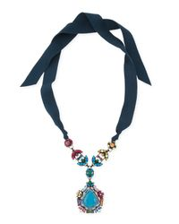 Lanvin - Blue Multicolor Crystal Pendant Necklace with Ribbons - Lyst