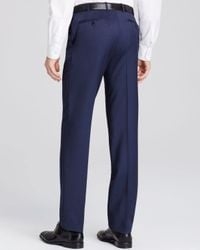 Canali | Blue Textured Solid Siena Classic Fit Trousers for Men | Lyst