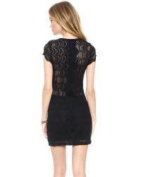 Nightcap - Black Deep V Cap Sleeve Dress - Lyst
