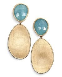 Marco Bicego | Blue 'lunaria' Drop Earrings - Aquamarine/ Yellow Gold | Lyst