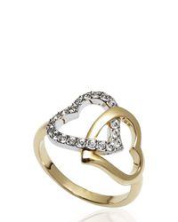 Swarovski | Metallic Double Heart Ring Size 6 | Lyst