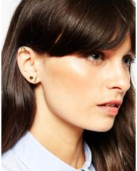 ASOS - Metallic Gold Plated Sterling Silver Mixed Shapes Ear Stud And Cuff Pack - Lyst