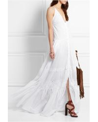 Roberto Cavalli - Black Broderie Anglaise Cotton-voile Gown - Lyst