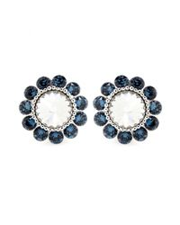Miu Miu | Blue Crystal Clip-On Earrings | Lyst