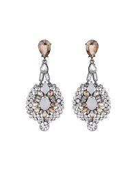 Mikey | Metallic Fillagary Hanging Crystal Earring | Lyst