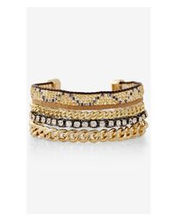 Express | Metallic Mixed Chain And Rhinestone Toggle Bracelet | Lyst
