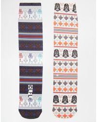 ASOS | Gray 2 Pack Socks With Christmas Star Wars Fair Isle Print for Men | Lyst