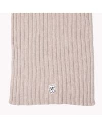 Tommy Hilfiger | Natural Wool Ribbed Scarf | Lyst