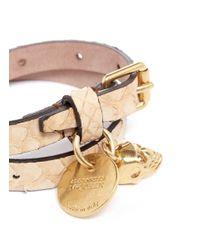 Alexander McQueen - Natural Double Wrap Skull Charm Snakeskin Bracelet - Lyst