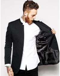 ASOS | Black Slim Fit Blazer With Mandarin Collar for Men | Lyst