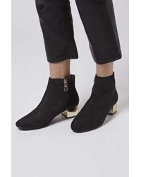 TOPSHOP - Black Betty Patent Boots - Lyst
