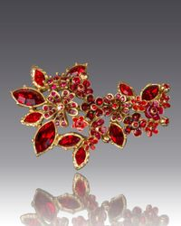 Jay Strongwater | Red Floral Cluster Pin | Lyst