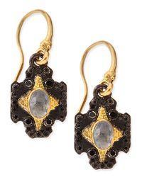 Armenta - Black Small Midnight Hoop Earrings With Gold & Diamond Crivelli Crosses - Lyst