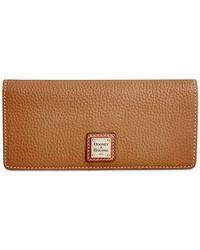 Dooney & Bourke - Brown Pebble Slim Wallet - Lyst