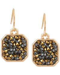 Kenneth Cole - New York Gold-tone Metallic Stone Drop Earrings - Lyst