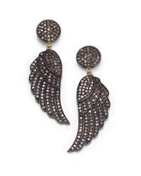 Bavna | Gray 2.04 Tcw Champagne Diamond Pavã© & Sterling Silver Wing Earrings | Lyst