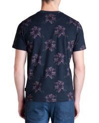 Ted Baker - Blue Mintell All Overfloral Crew Neck T-Shirt for Men - Lyst