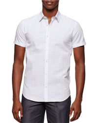 Calvin Klein | Blue Corded Mini Check Sportshirt for Men | Lyst