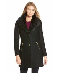 Guess | Black Faux Fur Collar Single Breasted Boucle Coat | Lyst