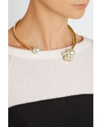 Kenneth Jay Lane - Metallic Gold-plated Faux Pearl Collar Necklace - Lyst